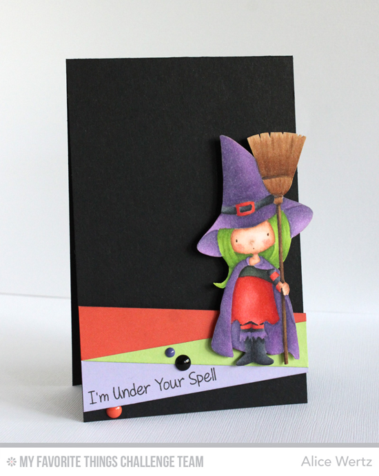 Under Your Spell Card by Alice Wertz featuring the Birdie Brown Witch Way is the Candy? stamp set and Blueprints 25 Die-namics
