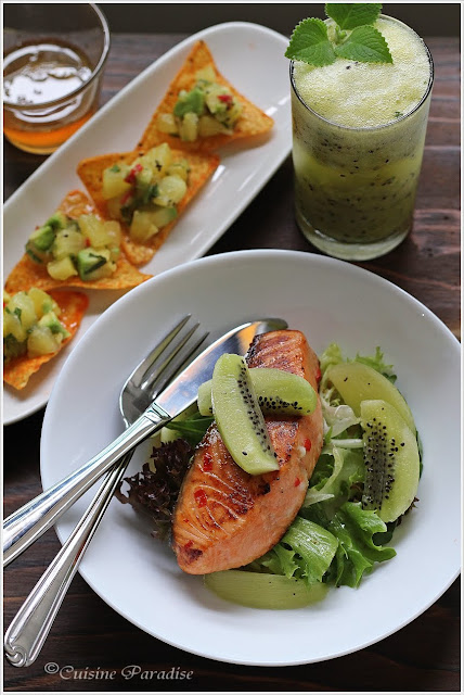 {Zespri Kiwifruit Recipes} Kiwi, Lime & Mint Cooler, Avocado with Gold Kiwifruit Salsa and Pan-fry Salmon with Green Kiwifruit