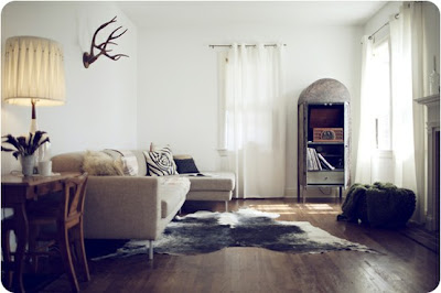 Modern Rustic Design Animal Head Horns Rug Fur Living Room Kitchen Bedroom Di