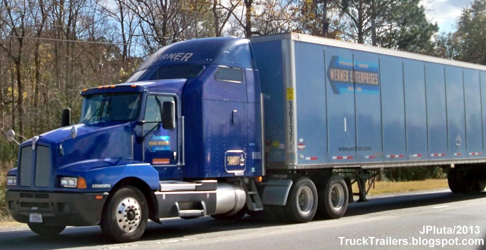 Werner enterprises omaha nebraska kenworth dark blue sleeper cab truck 58207 dry van skirted trailer werner trucking company ne