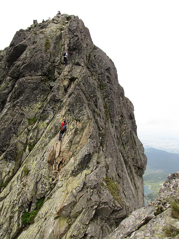 Zejście z Kozich Czub na Kozią Przełęcz Wyżnią widziane ze ściany Koziego Wierchu.