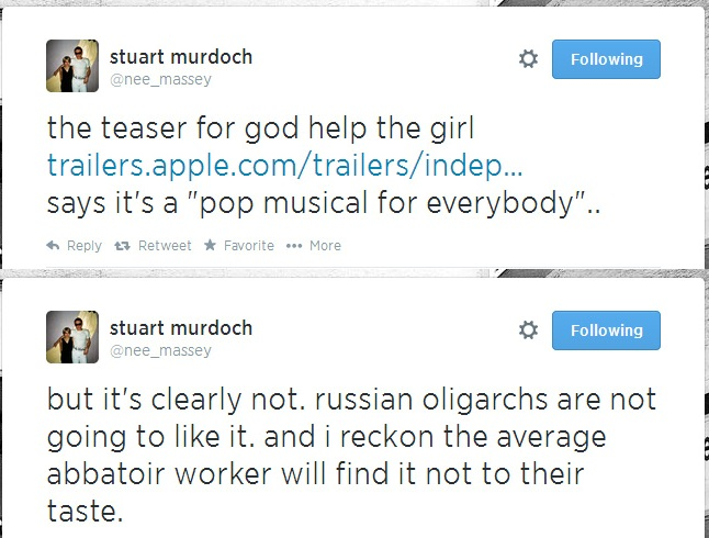 Stuart Murdoch su twitter a proposito del trailer di God Hel The Girl