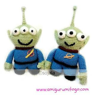 green crochet alien doll