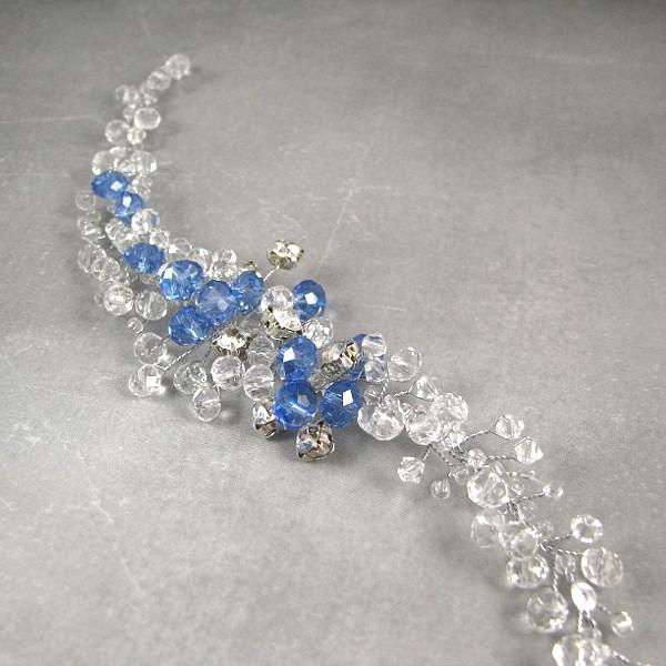 Ślubny stroik do włosów - niebieskie kryształy.