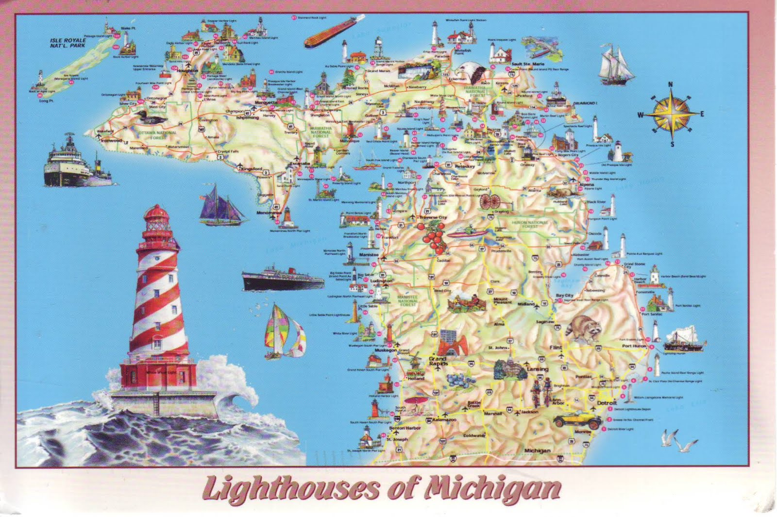 Michigan Lighthouses Map