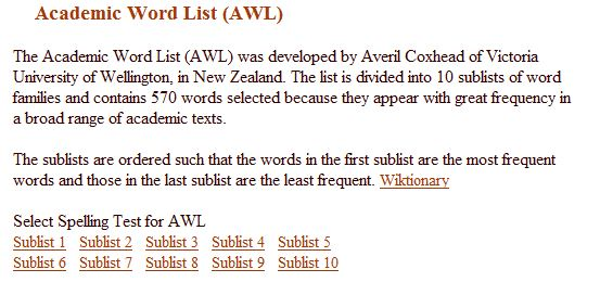 academic words list essay