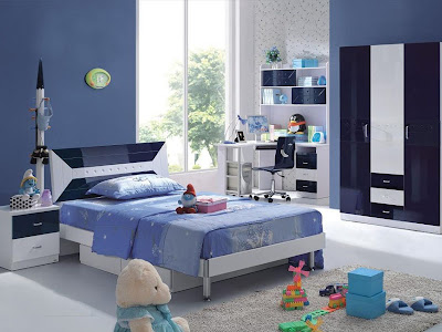 Girls Bedroom Design in Blue