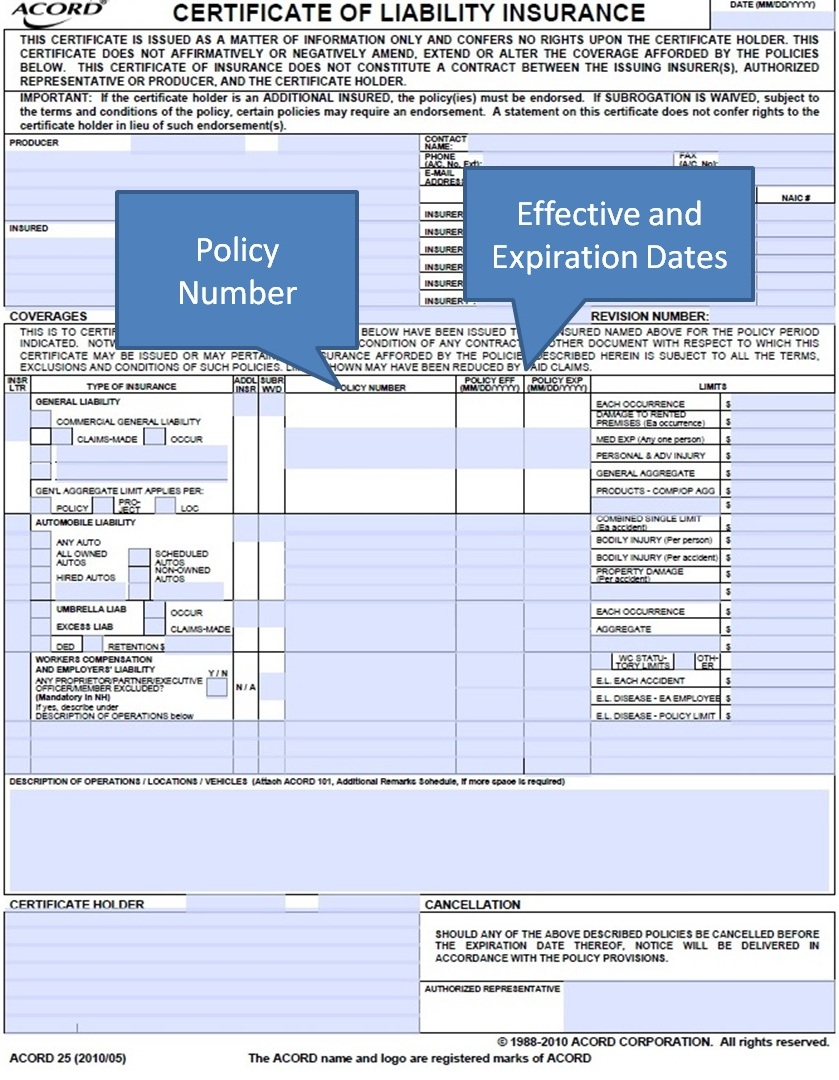 Simply-Easier-ACORD-Forms: ACORD 25 - Policy Number and Dates ...