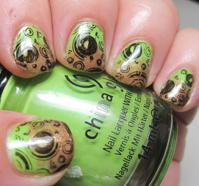 China Glaze Tree Hugger with OPI Charmed by a Snake gradient