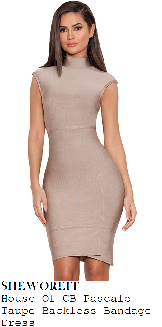 vicky-pattison-taupe-cap-sleeve-high-neck-bandage-dress-london