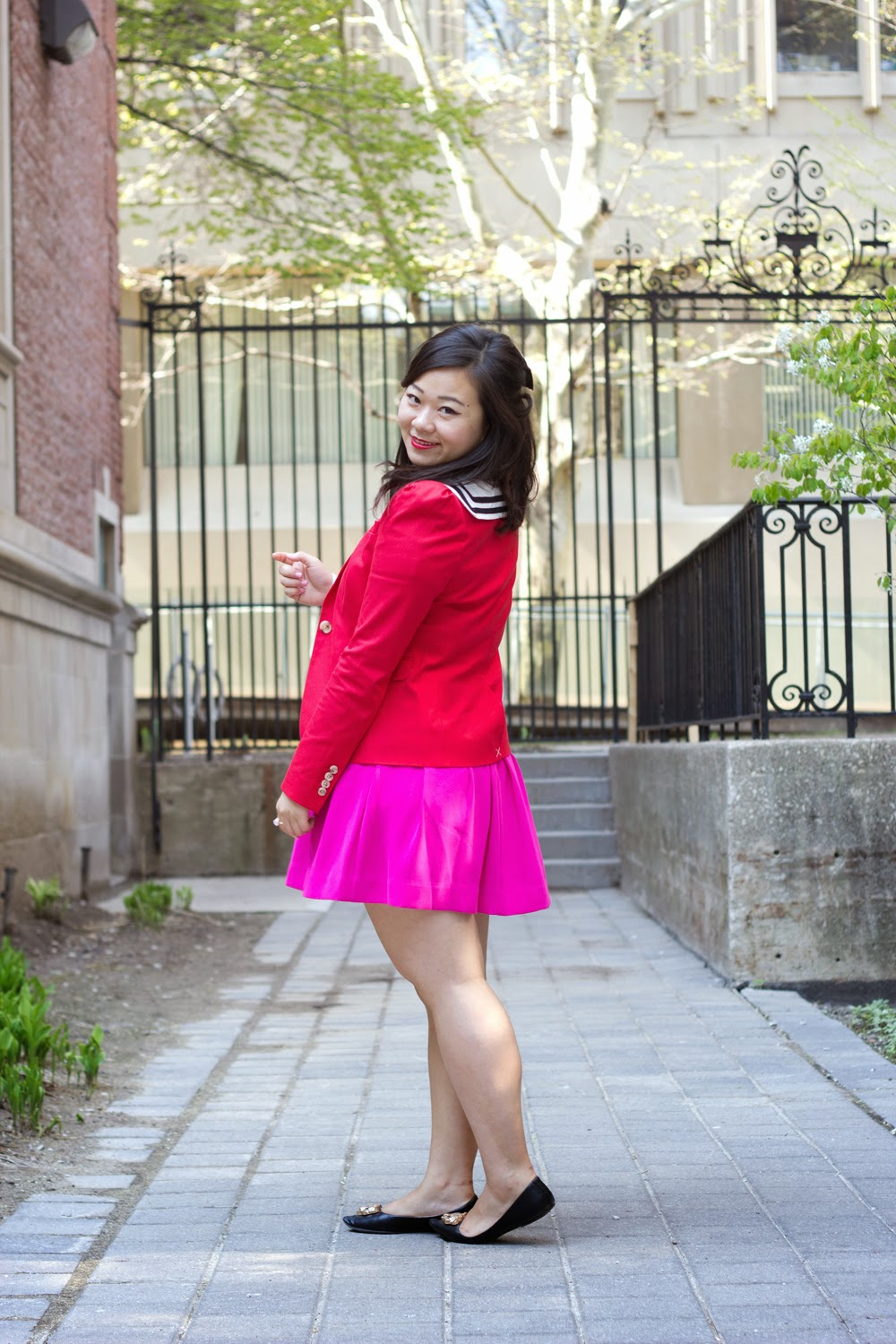 Hot-Pink-Skater-Skirt, JCrew-Red-Blazer, school-girl-look, spring-outfit, colour-blocking