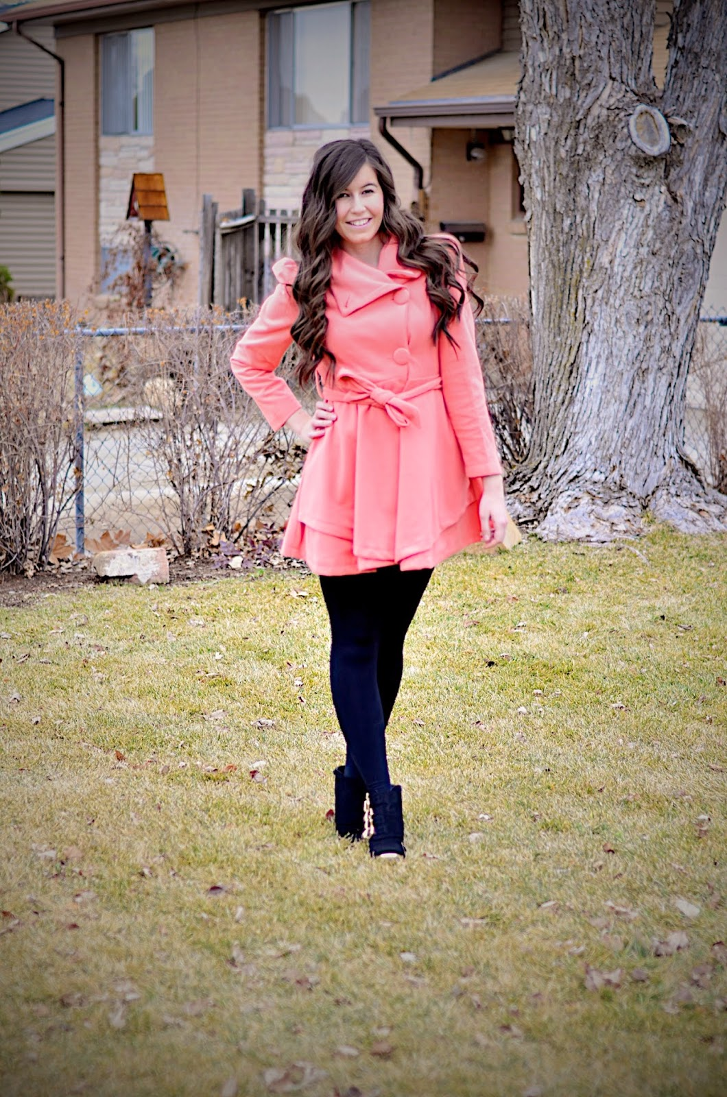 persun mall, persun mall clothing, pink flared coat, pink coat, coats, long coat, long hair, long curly hair, wavy hair, flared coat, ankle boots, deb shops boots, deb shops ankle boots, opaque tights,