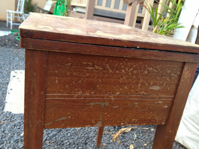 antique seing table before and after