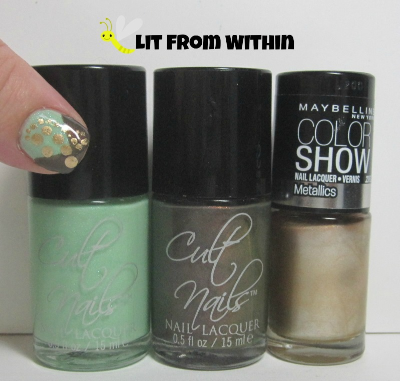 Bottle shot:  Cult Nails Thrive, Cult Nails Midnight Mist, and Maybelline Bold Gold