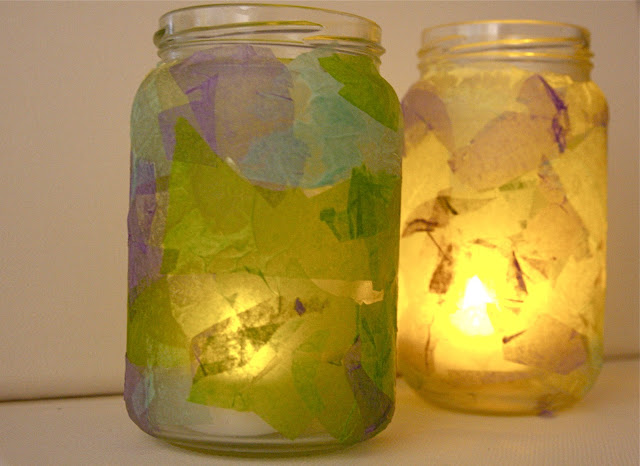 tissue paper covered jars as candle holders