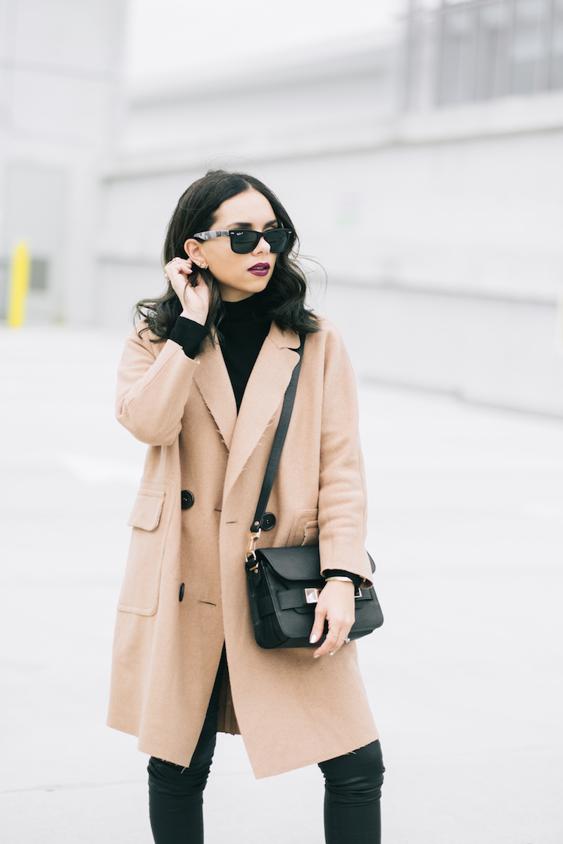 camel coat, black leather pants, proenza schouler, ps11, ag jeans, fashion, miami fashion, winter fashion, miami winter outfit, rayban, nike,dailylook, short hair