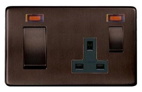Heritage Brass screwless 45A Cooker Switch with 13A socket in bronze