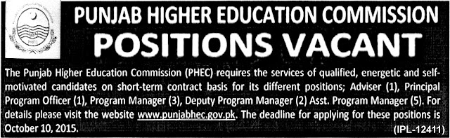 Higher Education Commission Jobs in Punjab 21 September 2015