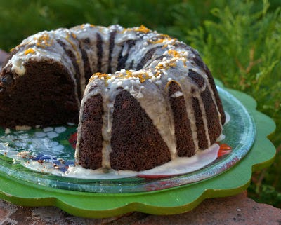 Chocolate Zucchini Cake with Orange, a Midwestern classic, chocolate-y and orange-y. Stays moist for days. #WW6 #AVeggieVenture