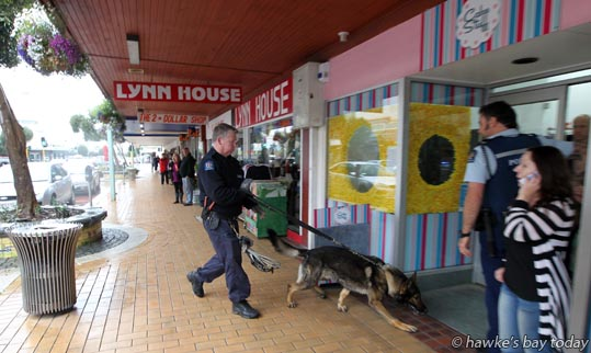 At right: Donna Kyle, owner - Police, a police doghandler and St John Ambulance attended Cake Stuff, a retailer, Heretaunga St East, Hastings, after a staff member was assaulted with a chair when she went upstairs. photograph