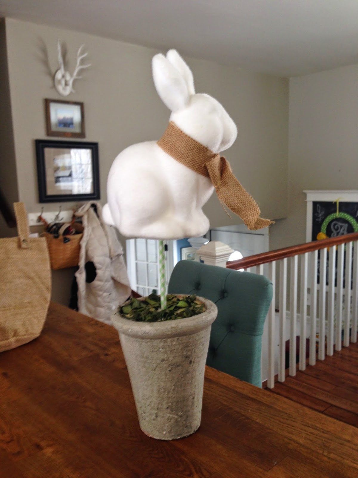 Target Dollar Spot bunny made into a topiary for Easter decor-www.goldenboysandme.com