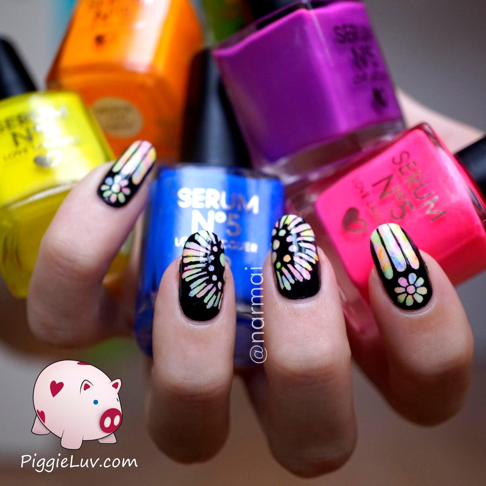 PiggieLuv: Glow in the dark rose window nail art