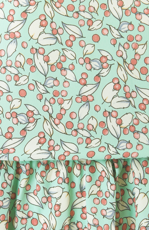 Berry Mint Flare Dress with Love Buttons