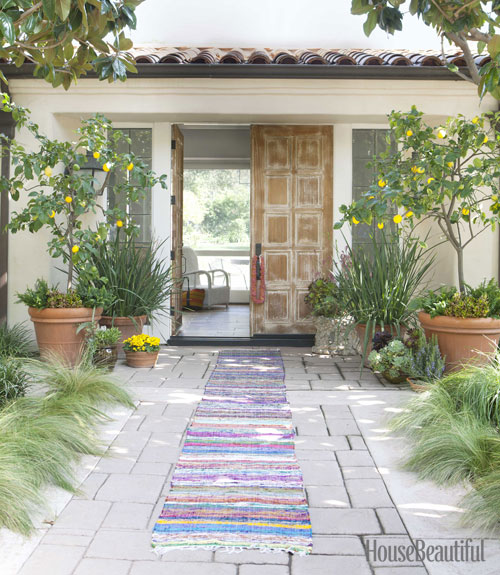 front door of Todd Nickey and Amy Kehoe of Nickey Kehoe's Malibu home featured in House Beautiful