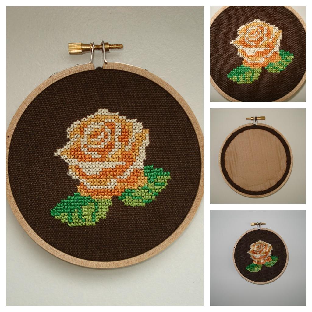 Cupcake cutie vintage floral cross stitch embroidery hoop