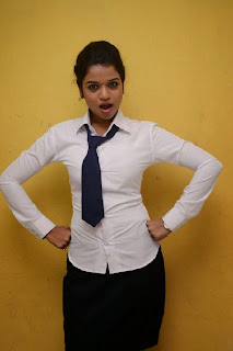 Bhavya Sri in Formal Dress Spicy Tie White Shirt and Mini Skirt