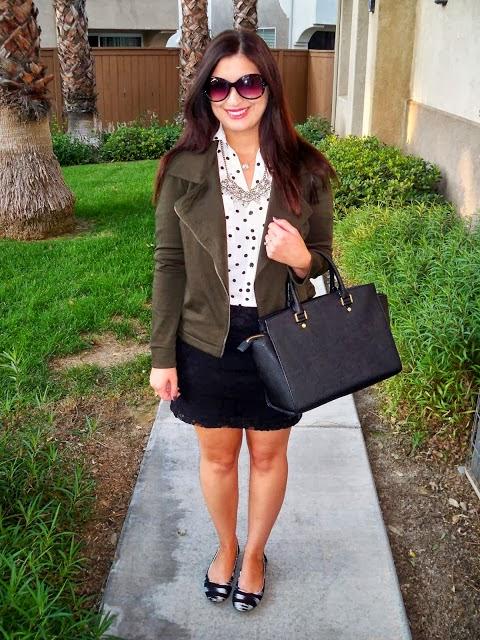 Express polka dot portofino shirt, Target moto jacket, Express lace skirt