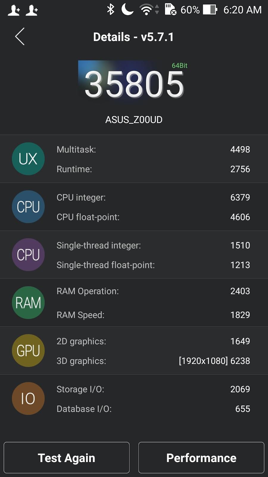 Asus ZenFone Selfie ZD551KL Antutu Benchmark Score