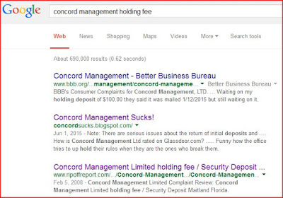 google search on concord management holding fee