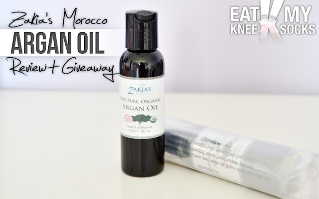 Today I'll be reviewing Zaki'as Morocco's 100% pure organic argan oil, and giving away a bottle to my readers! -Michelle from Eat My Knee Socks/Mimchikimchi
