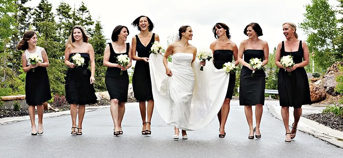 Vestidos de damas de honor negro