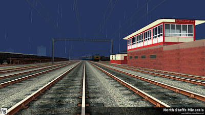 Fastline Simulation - North Staffs Minerals: A view Grange Sidings signal box as Class 86 86260 approaches with a down express to Manchester Picadilly in North Staffs Minerals a route for RailWorks Train Simulator 2012.