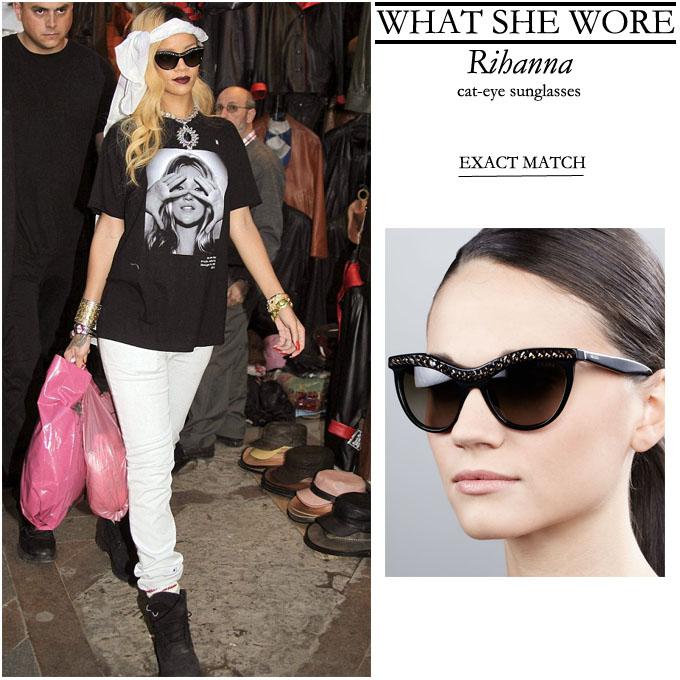 WHO  Rihanna shopping in Rabat  Morocco on May 25 2013Prada Cat Eye Sunglasses 2013