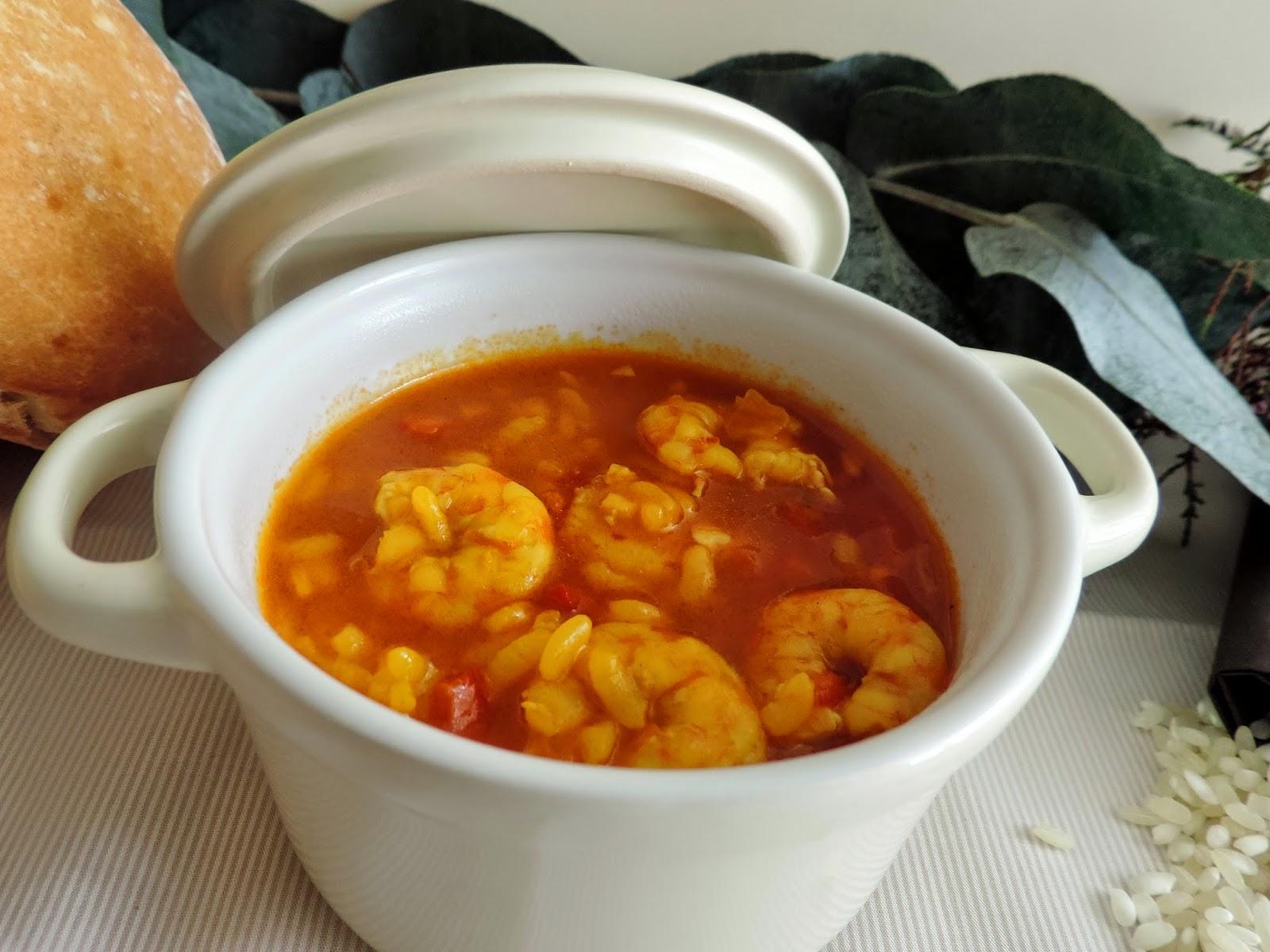 Cocinando con las chachas arroz caldoso con langostinos for Cocinar con cookeo
