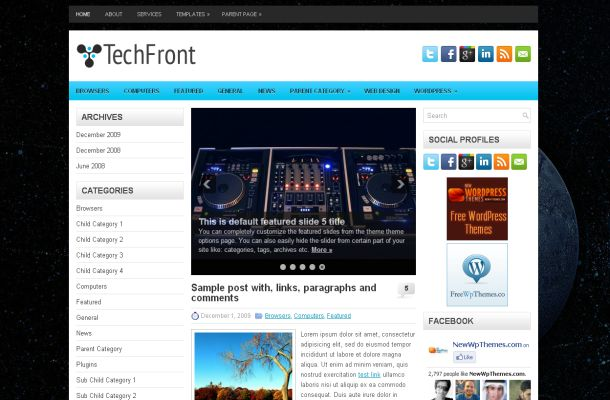 Free Black Technology Wordpress Theme Template