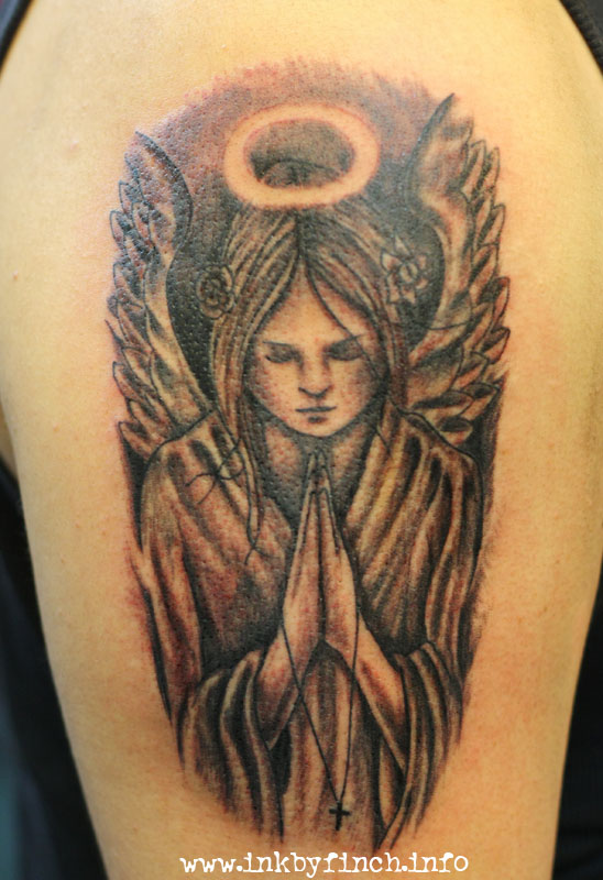 Official blog of ink by finch tattoo singapore for Praying angel tattoos