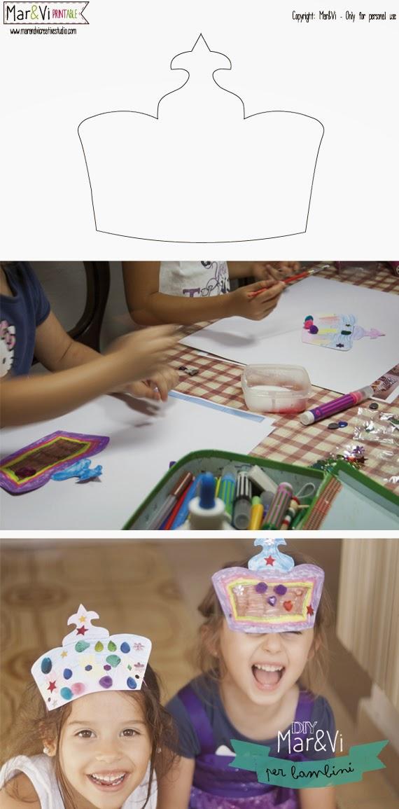 Lavoretti per bambini, corone da ritagliare e colorare