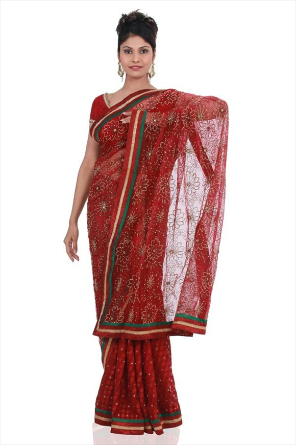 latest indian Maroon Net Sarees