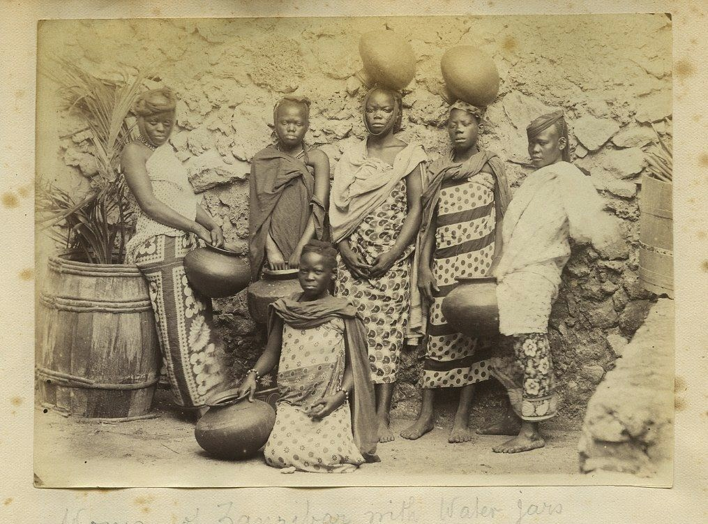 Women Carrying Water Jugs in Zanzibar, Tanzania,  East Africa c1880s