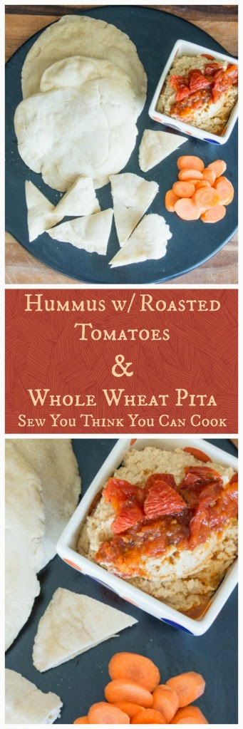 Featured Recipe | Hummus with Roasted Tomatoes and Whole Wheat Pita from Sew You Think You Can Cook #recipe #hummus #pita #SecretRecipeClub