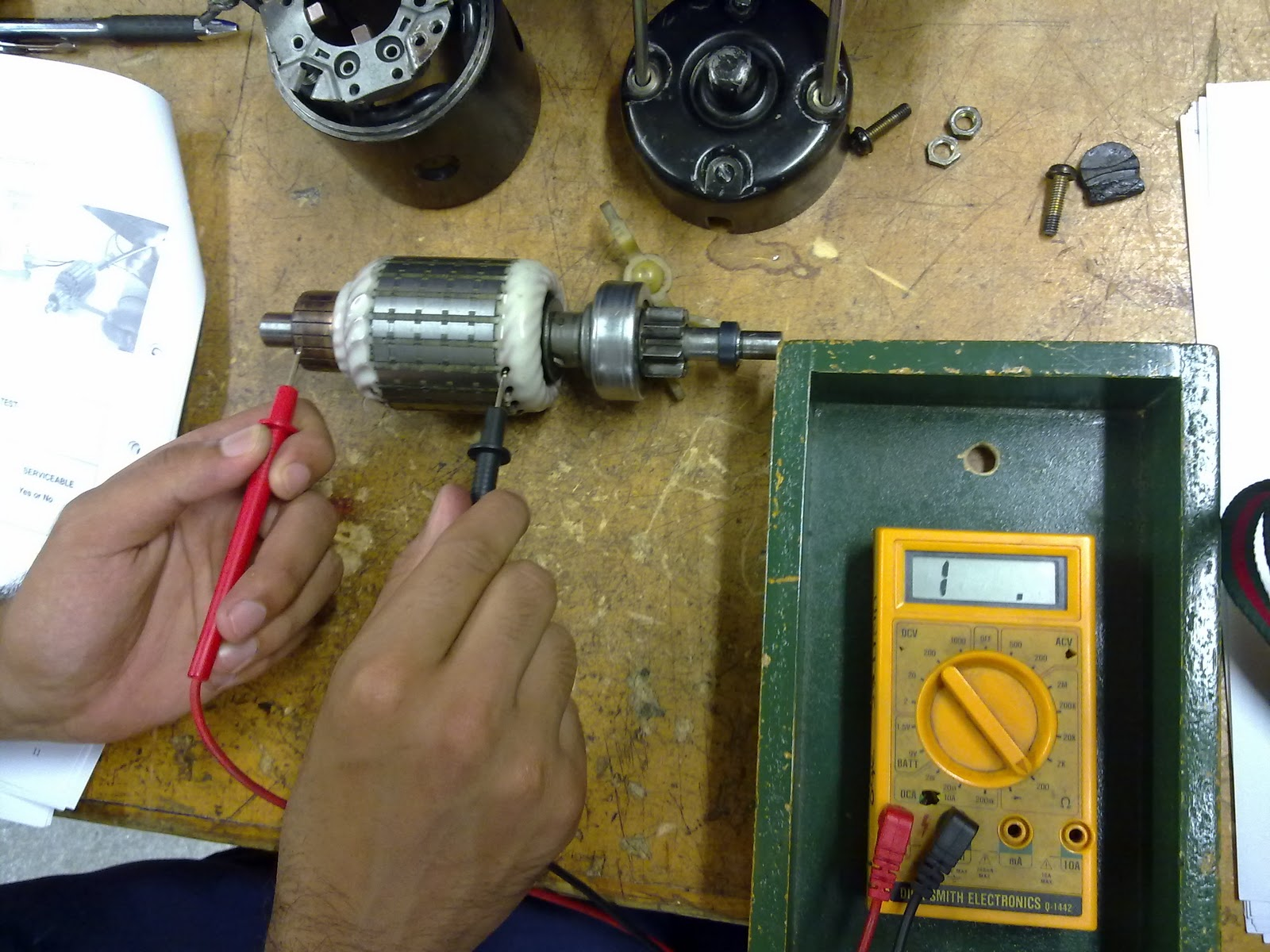 Leo Starter Motor Bench Testing And Repair Check For Continuity On The Start Windings Between Black