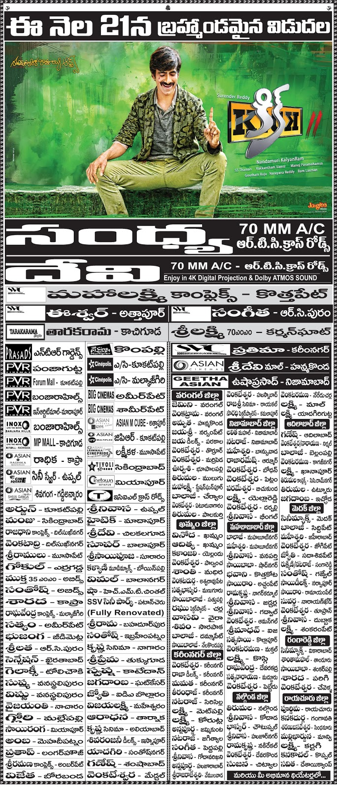 Kick2 Theaters List | Ravi Teja | Rakul Preet