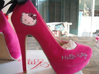 Hello Kitty hot pink high heel shoes
