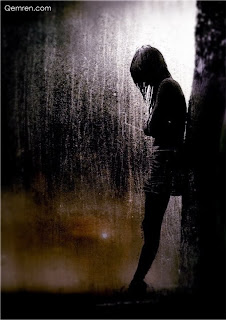 alone girl in rain
