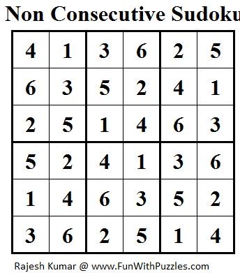 Non Consecutive Sudoku (Mini Sudoku Series #20) Solution