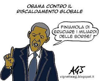 obama, riscaldamento globale, borse, economia, satira, vignetta